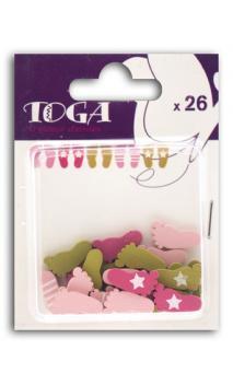 Surtido de 26 confetis Madera pieds rosa verde