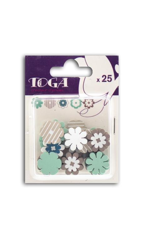 Surtido de 25 confettis Madera flores azul marrón oscuro