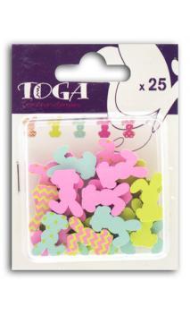 Surtido de 25 confettis Madera conejos