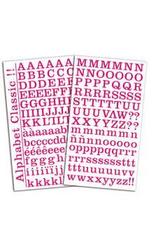 2 hojas de pegatinas alfabeto clásico fucsia