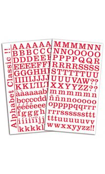 2 hojas de pegatinas alfabeto clásico Rojo