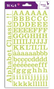 2 hojas de pegatinas alfabeto clásico verde