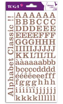 2 hojas de pegatinas alfabeto clásico marrón