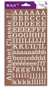 2 hojas de pegatinas alfabeto clásico ivoire