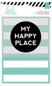 Stamp & Stencil Set - HS - Wanderlust - 5 x 7 - My Happy Place (2 Piece)