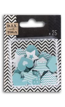 Surtido 25 confetis madera - corazones/estrellas-turquesa
