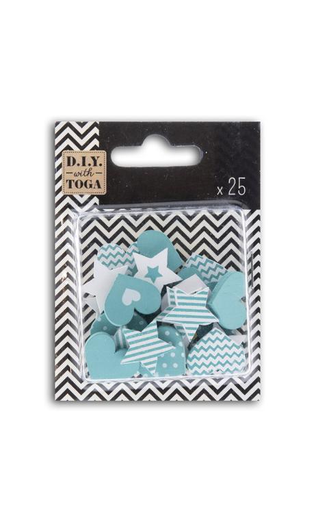 Conjunto 25 confettis madera - corazones/estrellas-turquesa