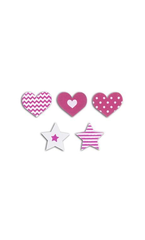 Conjunto 25 confettis madera - corazones/estrellas-fucsia