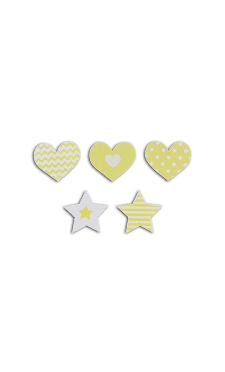 Conjunto 25 confettis madera - corazones/estrellas-verde