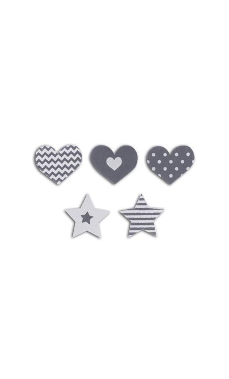 Conjunto 25 confettis madera - corazones/estrellas-gris