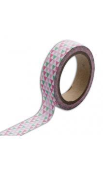 Masking tape triángulos Verde Rosa - 10m