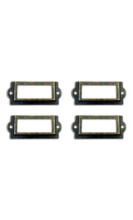 Conjunto 4 porta-etiquetas + 8 tornillos - metal vintage