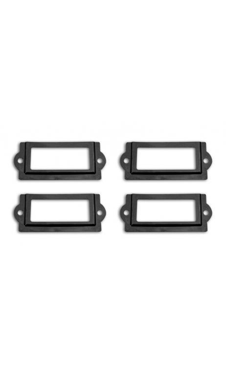 Conjunto 4 porta-etiquetas + 8 tornillos - metal negro