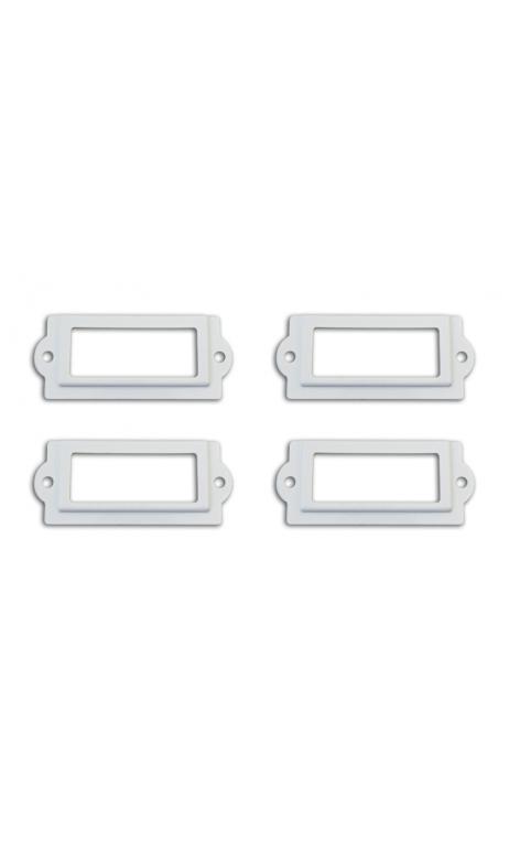 Conjunto 4 porta-etiquetas + 8 tornillos - metal blanco