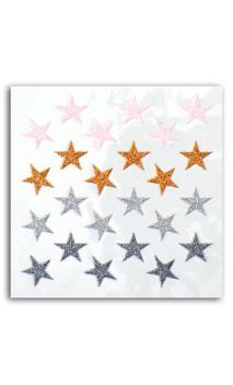 24 estrellas glitter rosa/cuero/plata/antracita
