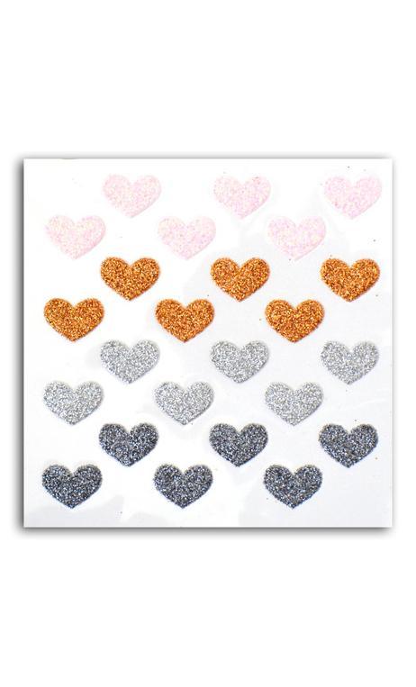 24 corazones glitter rosa/cuero/plata/antracita