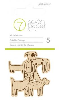 Embellishements - SC - Baxter - Wood Veneers - Dogs (5 Piece)