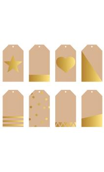 Surtido de 8 tags regalo kraft/oro