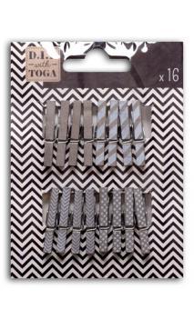 Surtido de 16 pinzas para ropa madera Plata