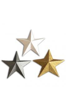 Oro de Bombay 12 die cuts estrellas 3D Oro/Plata/Blanco