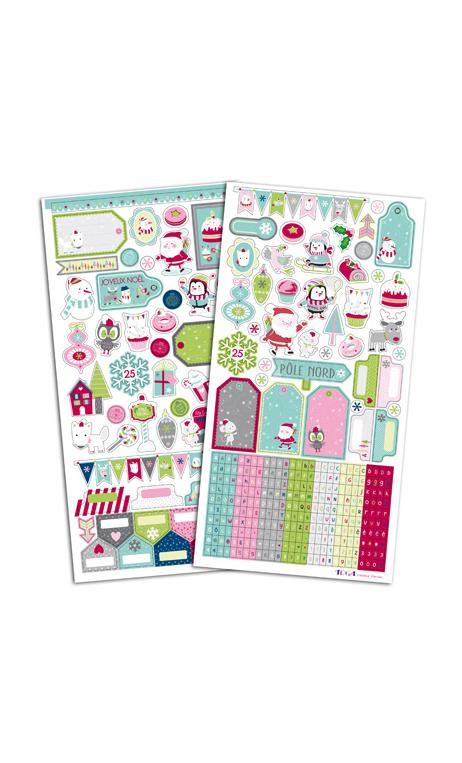 2 pl. stickers 15x30 Navidad En el Polo Norte