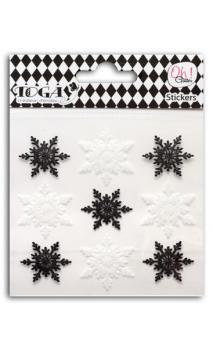 9 Copos glitter negro/Blanco