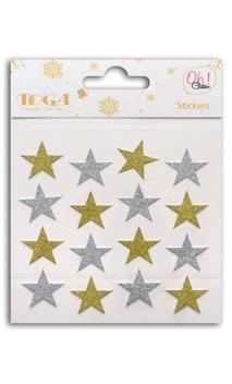 16 estrellas glitter Oro/Plata
