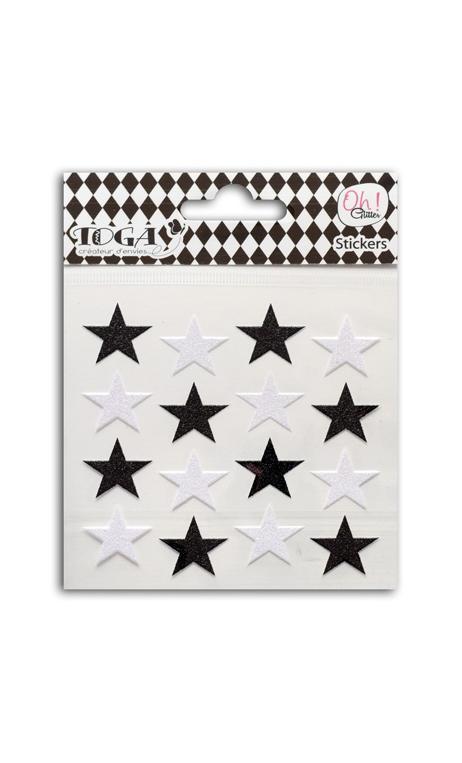 16 estrellas glitter negro/Blanco
