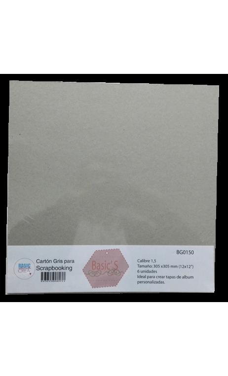 """Cartón Básico Gris 1,5"""" 30,5x30,5cm 6 hojas"""