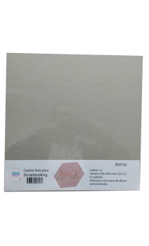 """Cartón Básico Gris 1,0"""" 30,5x30,5cm 6 hojas"""