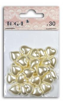 TAX046 30 corazones résine Marfil