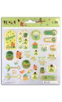 TAX055 1 Hoja de stickers epoxy Lechuzas