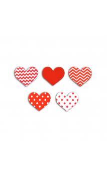 Surtido 25 confetis madera corazones Blanco & rojo