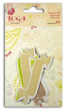 Surtido 24 formas recortadas banners verde/marrón/beige