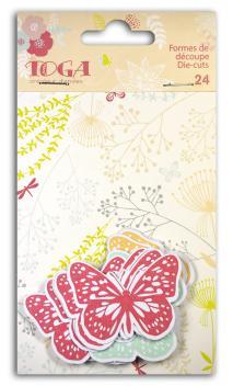 Surtido. 24 formas recortadas mariposas Coral/Melocotón/azul