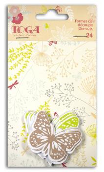 Surtido. 24 formas recortadas mariposas Verde/marrón/beige