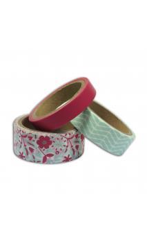 Masking tape x3 - Menta/Rosa - 5m