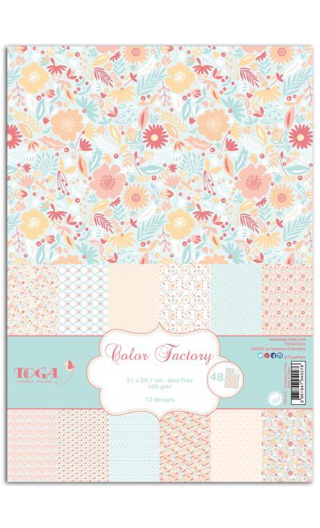 TPPK015 Color Factory - A4 - 48 hojas Menta/melocotón/rosa