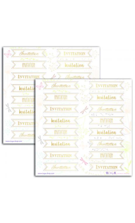 TSTF84 2 Hojas Stickers 15x15 Invitación oro