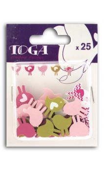 Surtido de 25 confetis Madera oiseaux rosa verde
