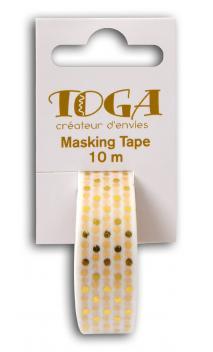 Masking tape Blanco topos dorados-10m