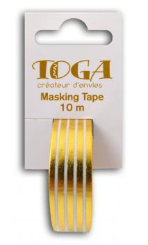 Masking tape Blanco lineas doradas-10m