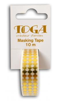 Masking tape Blanco rombos dorados-10m