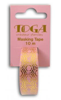 Masking tape rosa hexagonos dorados-10m