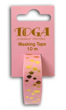 Masking tape rosa borlas doradas -10m