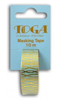 Masking tape azul hilos enlazados dorados-10m