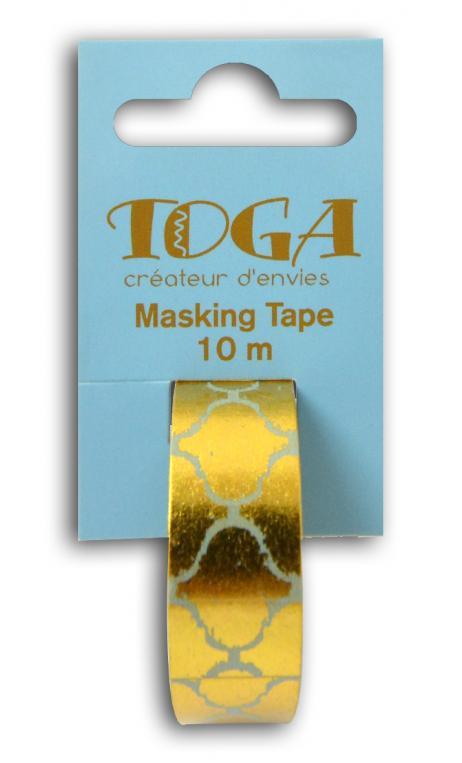 Masking tape azul friso oriental dorado-10m
