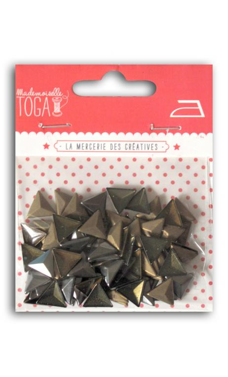 Surtido Triángulos 3D térmicos. 8mm - Bronce-Plata-Negro