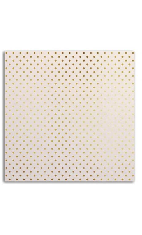 Mahé 30x30 - blanc & topos oro 1 hoja - Pack 10 h.