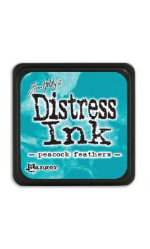 Distress ink mini peacock feathers